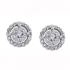 Diamond Framed Stud Earrings in 9K White Gold (0.47 CT. T.W.)