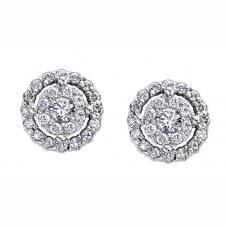 Diamond Framed Stud Earrings in 9K White Gold (0.47 CT. T.W.)