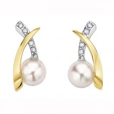 5mm Pearl and Diamond Accent Stud Earrings in 10K White and Yellow Gold (0.
