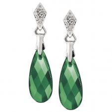 17mm Green Onyx Drop Earrings in 10K White Gold with Diamonds (0.05 CT. T.W