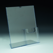 Slanted Sign Holder with pocket - w/ Brochure Pocket 4 x 9 bottom right - 8,5 W x 11 H - Clear durable acrylic