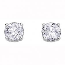 Round Diamond Stud Earrings in 10K White Gold (0.15 CT. T.W.)