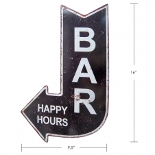 TIMBER - TIN SIGN BAR HAPPY HOURS, IN SHAPE OF ARR