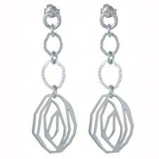 Italian Sterling Silver Ladies Earrings - Silver Oval