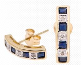 Sapphire and Diamond 10 Karat Gold Earrings