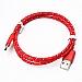 Cellulaire cable - Fil USB type C - Style corde tressée - 3' - Rouge