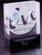 Custom Lucite Award with White Paper