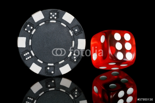 black poker chip with dice
