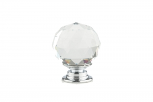 Contemporary Crystal Knob - 8737 - DIA 30 mm - Clear / Crystal / Chrome