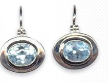Oval Topaz and Sterling Silver Earrings