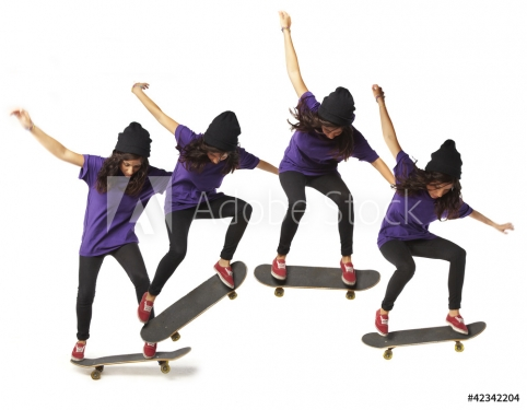 skateboard jump sequence woman isolated