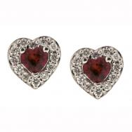 Heart Shaped Garnet and Diamond Stud Earrings in 10K White Gold (0.10 CT. T