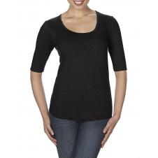 ANVIL - 6756L - T-Shirt - T-Shirt Triblend 1/2 Manches Échancré pour Femmes - 50/25/25 - Noir - Small