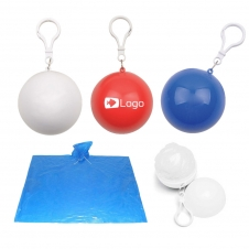 Ball Key Ring With Adult Sized Emergency Rain Poncho