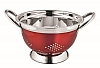5 QT STAINLESS STEEL COLANDER W/Red Metallic Clr