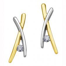 Diamond Criss-Cross Stud Earrings in 10K Two-Tone Gold (0.16 CT. T.W.)