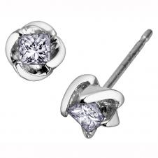 Princess Cut Diamond Stud Earrings in 14K White Gold (0.30 CT. T.W.)