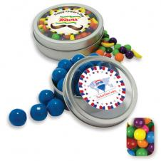 Rim Tin w/ Window Assorted Gumballs Candy by Color