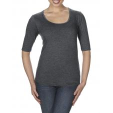 ANVIL - 6756L - T-Shirt - T-Shirt Triblend 1/2 Manches Échancré pour Femmes - 50/25/25 - Gris Foncé Cendré - X-Small