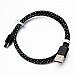 Cellulaire cable - Fil USB type C - Style corde tressée - 3' - Noir