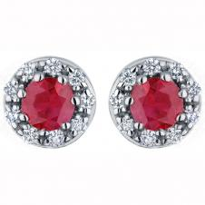 3.8mm Ruby and Diamond Stud Earrings in 14K White Gold (0.12 CT. T.W.)