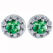 3.8mm Emerald Diamond Stud Earrings in 14K White Gold (0.12 CT. T.W.)