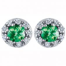 3.8mm Emerald Diamond Stud Earrings in 14K White Gold (0.12 CT. T.W.)