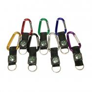Large Size 8 Cm Carabiner with Strap/ Compass and Split Key Ring