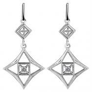 10K White Gold Drop Earrings with Diamonds (0.2 CT. T.W.)
