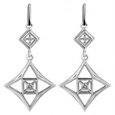 10K White Gold Drop Earrings with Diamonds (0.2 CT. T.W.)